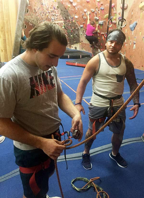 rock climbing with tristan and doug
