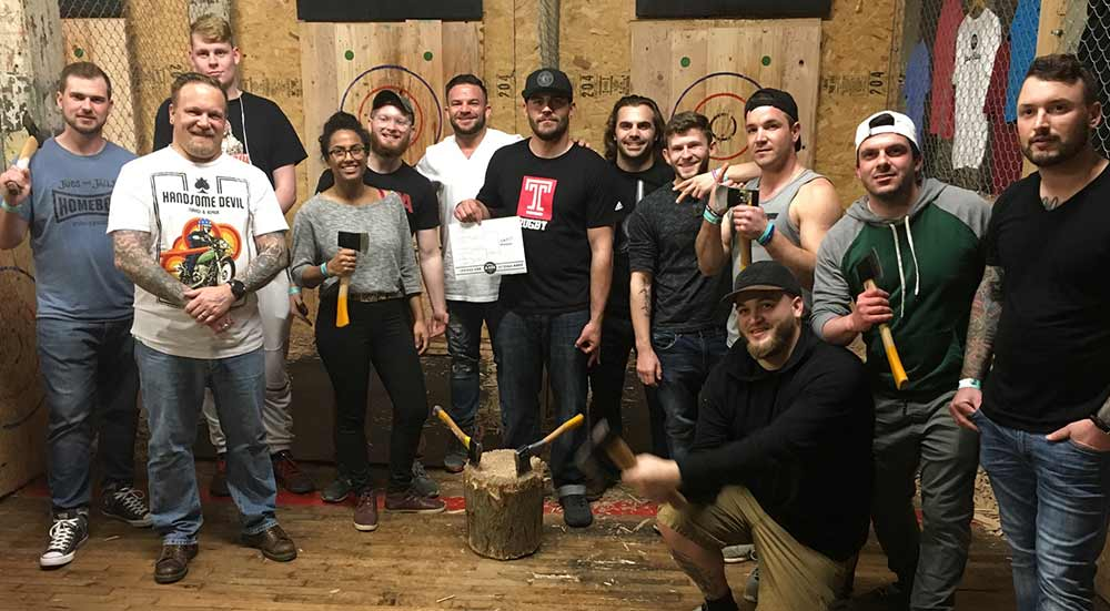 axe throwing competition with Young People In Recovery