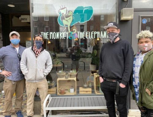 The guys show support to the Monkey and elephant Cafe